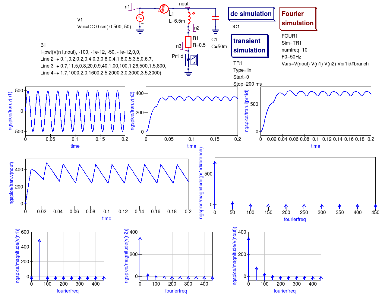 Chapter 7 Qucs And Spice Simulation Models That Work With Ngspice Voltage Rectifier Circuit B Source Example 2 Of The Properties A High Power Half Wave 05 Ohm Load