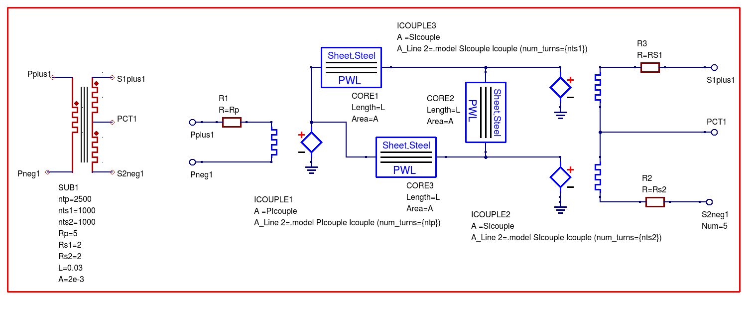 Chapter 7 Qucs And Spice Simulation Models That Work With Ngspice Full Wave Rectification Circuit Three Winding Transformer Model Resistance Core Saturation Effects Using Xspice Rectifier Example